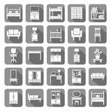 Furniture, icons, monochromatic, gray. Royalty Free Stock Photos