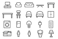 Furniture icons - Outline Illustration Stock Photography