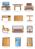 Furniture icons set Royalty Free Stock Photos