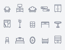 Furniture icons. Set of 15 furniture icons Royalty Free Illustration