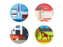 Furniture icons of set Stock Images