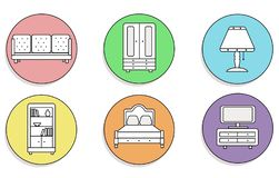 Furniture icons set. Beautiful on a colored, round background. stock illustration