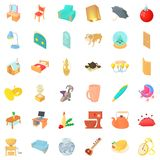 Furniture icons set, cartoon style. Furniture icons set. Cartoon style of 36 furniture vector icons for web isolated on white background Royalty Free Stock Photo