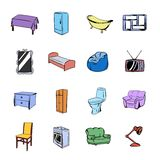 Furniture icons set cartoon Stock Photo