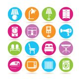 Furniture icons. Set of 16 furniture icons in colorful buttons Royalty Free Stock Photo