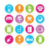Furniture icons. Set of 16 furniture icons in colorful buttons stock illustration