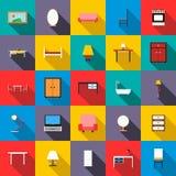 Furniture icons set, flat style Royalty Free Stock Image