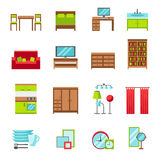 Furniture icons set. Flat style vector illustration. Furniture for bedroom, dining room, living room, home office, bathroom and kitchen. Dinnerware, mirrors Royalty Free Stock Image