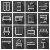 Furniture icons set. Flat vector illustration on black backgroun Stock Images