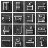 Furniture icons set. Flat vector illustration on black background. Universal icon for web design Royalty Free Stock Photos