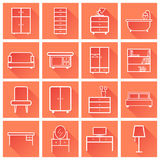 Furniture icons set. Flat vector illustration with long shadow o royalty free illustration