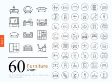 60 furniture icons Royalty Free Stock Photo