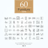 60 furniture icons. Set of furniture icons for interior. 60 line icons high quality, vector illustration Royalty Free Stock Photo