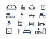 Furniture icons. Set of furniture icons isolated on white