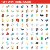 100 furniture icons set, isometric 3d style. 100 furniture icons set in isometric 3d style for any design vector illustration Royalty Free Illustration