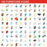 100 furniture icons set, isometric 3d style. 100 furniture icons set in isometric 3d style for any design illustration stock illustration