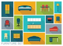 Furniture icons set Royalty Free Stock Photography