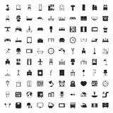 Furniture 100 icons set for web. Flat stock illustration