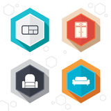 Furniture icons. Sofa, cupboard, and book shelf Royalty Free Stock Photography