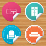 Furniture icons. Sofa, cupboard, and book shelf. Stock Photo