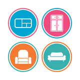 Furniture icons. Sofa, cupboard, and book shelf. Stock Photos