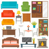 Furniture icons vector. Furniture and home decor icon set vector illustration. Indoor cabinet interior room library, office bookshelf furniture icons. Modern Stock Photos