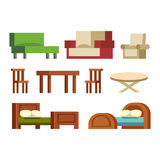 Furniture icons vector. Furniture and home decor icon set vector illustration. Indoor cabinet interior room library, office bookshelf furniture icons. Modern Royalty Free Stock Photo