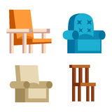 Furniture icons vector. Furniture and home decor icon set vector illustration. Indoor cabinet interior room library, office bookshelf furniture icons. Modern Stock Photo