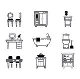 Furniture icons vector illustration. Furniture and home decor icon set vector illustration. Indoor cabinet interior room library, office bookshelf furniture Royalty Free Stock Images