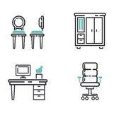 Furniture icons vector illustration. Furniture and home decor icon set vector illustration. Indoor cabinet interior room library, office bookshelf furniture Stock Images
