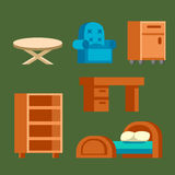 Furniture icons vector illustration  interior living cupboard simple element indoor home set room cabinet office. Furniture and home decor icon set vector Royalty Free Stock Photography