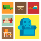 Furniture icons vector illustration  interior living cupboard simple element indoor home set room cabinet office. Furniture and home decor icon set vector Stock Images