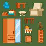 Furniture icons vector illustration  interior living cupboard simple element indoor home set room cabinet office. Furniture and home decor icon set vector Royalty Free Stock Photo