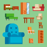Furniture icons vector illustration isolated interior living cupboard simple element indoor home set room cabinet office Stock Photos