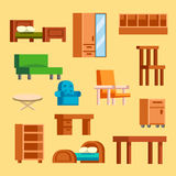 Furniture icons vector illustration isolated interior living cupboard simple element indoor home set room cabinet office. Furniture and home decor icon set Royalty Free Stock Photo