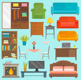 Furniture icons vector  illustration outline modern closet bedroom silhouette. Furniture and home decor icon set vector illustration. Indoor cabinet interior Stock Photos