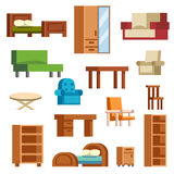 Furniture icons vector isolated. Furniture and home decor icon set vector illustration. Indoor cabinet interior room library, office bookshelf furniture icons Royalty Free Stock Photography