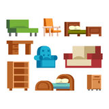 Furniture icons vector isolated. Furniture and home decor icon set vector illustration. Indoor cabinet interior room library, office bookshelf furniture icons Royalty Free Stock Image