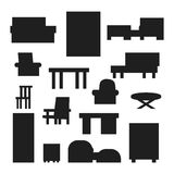 Furniture icons vector isolated. Furniture and home decor icon set vector illustration. Indoor cabinet interior room library, office bookshelf furniture icons Stock Photo