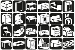 Furniture icons volume Stock Photos