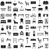 Furniture icons on white Royalty Free Stock Images