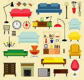 Furniture ideas for living room. Cartoon furniture for living rooms . Flat style vector illustration Royalty Free Stock Photography