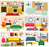 Furniture ideas for living room. Cartoon living rooms with furniture. Flat style vector illustration Stock Photo