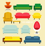 Furniture ideas for living room. Vector sofa icons set. Flat style vector illustration Stock Photos