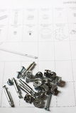 Furniture instructions with fixings Stock Photo