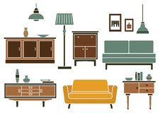 Furniture and interior accessories in flat style Stock Image