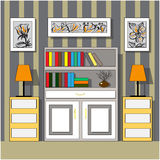 Furniture in the interior. Bookcases, dressers and lamps.Izometriya, vector graphics Royalty Free Stock Photo