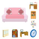 Furniture and interior cartoon icons in set collection for design. Home furnishings vector isometric symbol stock web. Furniture and interior cartoon icons in Royalty Free Stock Images