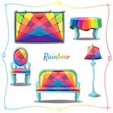 Furniture and interior decor with rainbow pattern. Furniture and interior decoration with a rainbow pattern, 5 items Royalty Free Stock Images