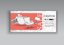 Banner of hand drawn furniture store, apartment, promotion, sale, ads. Furniture and interior detail store, apartment, promotion, sale, ads, banner sketch hand vector illustration